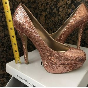 Rose gold sequins Steve madden high heels.